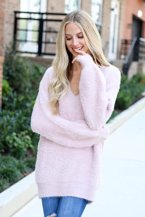 Model wearing Mauve Balloon Sleeve Fuzzy Knit Sweater from Dress Up