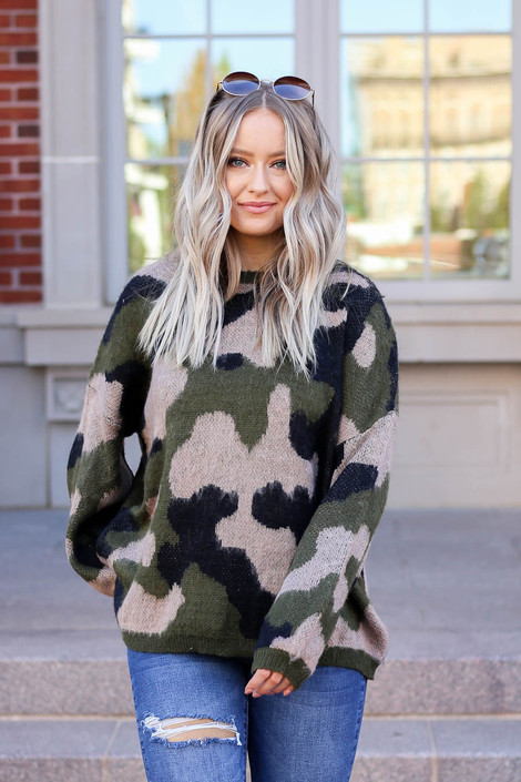 Olive - Oversized Camo Fuzzy Sweater from Dress Up
