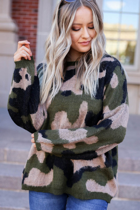 Olive - Oversized Camo Fuzzy Sweater from Dress Up Detail View