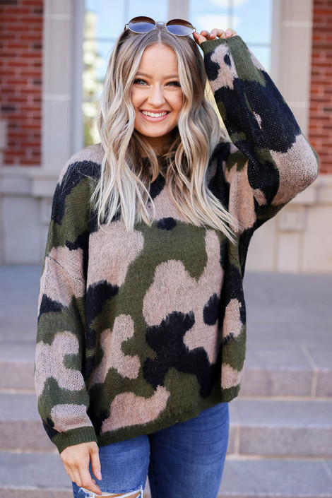 Model wearing Oversized Camo Fuzzy Sweater from Dress Up Front View
