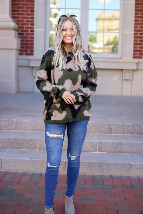 Model wearing Oversized Camo Fuzzy Sweater from Dress Up Full View