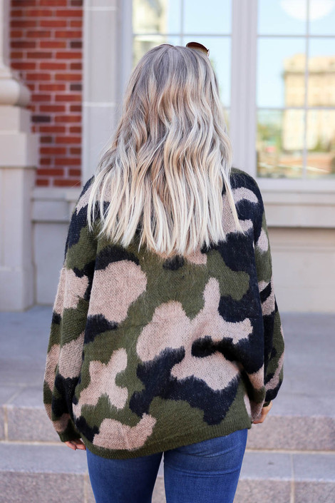 Model wearing Oversized Camo Fuzzy Sweater from Dress Up Back View