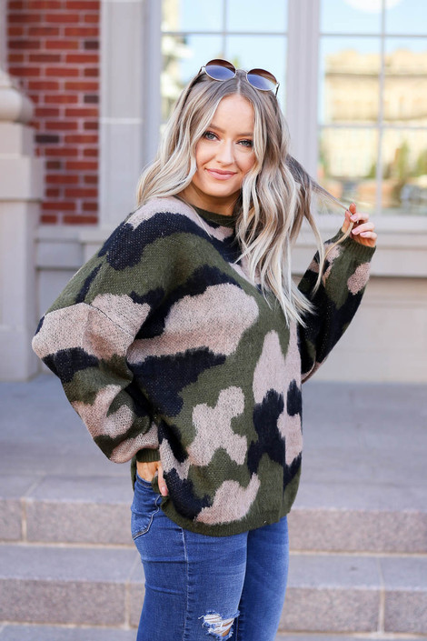 Model wearing Oversized Camo Fuzzy Sweater from Dress Up Side View