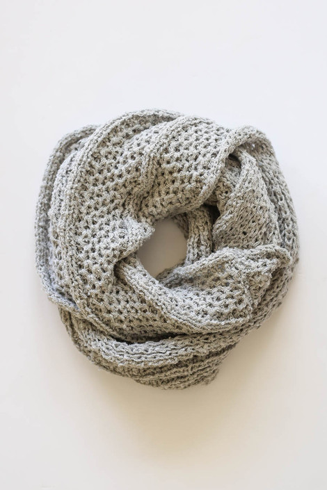 Grey - Open Knit Infinity Scarf from Dress Up Flat Lay