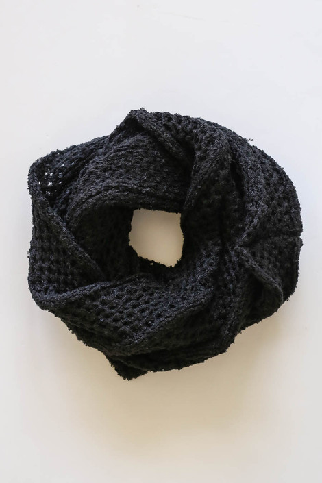 Black - Open Knit Infinity Scarf from Dress Up Flat Lay