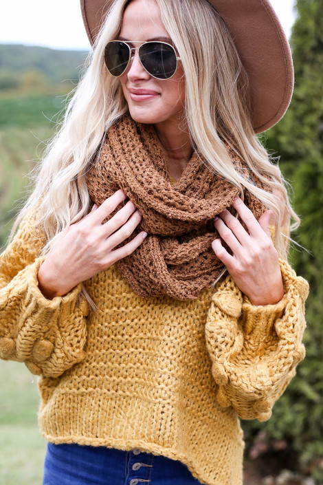 Camel - Open Knit Infinity Scarf from Dress Up