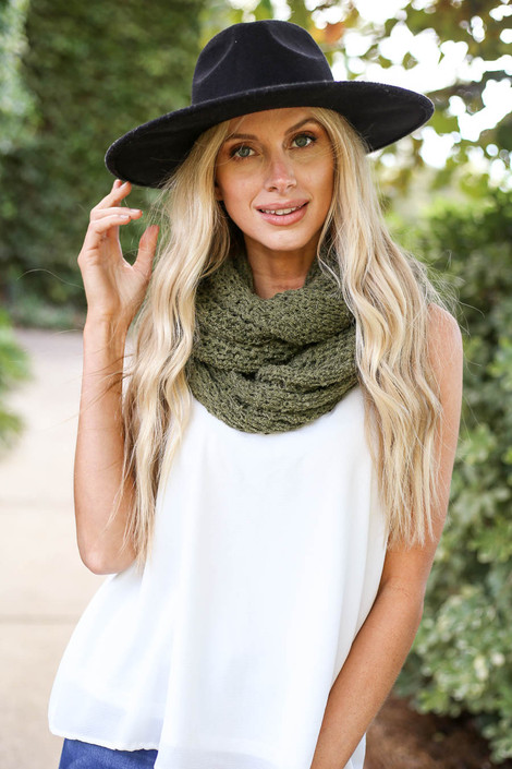 Olive - Open Knit Infinity Scarf on Dress Up Model