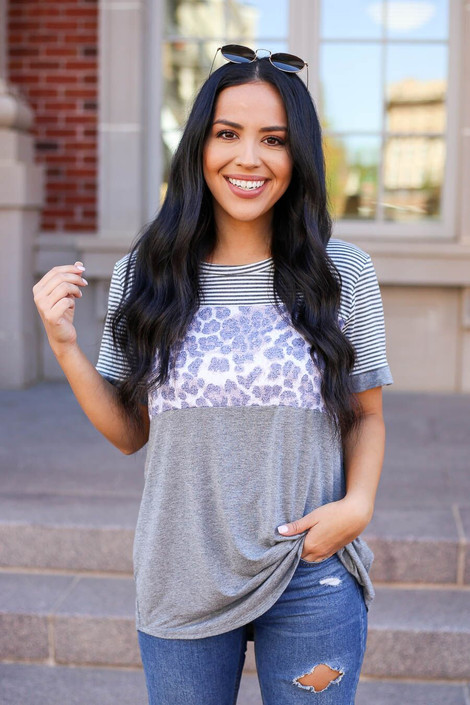 Grey - Janie Color Block Tee front view