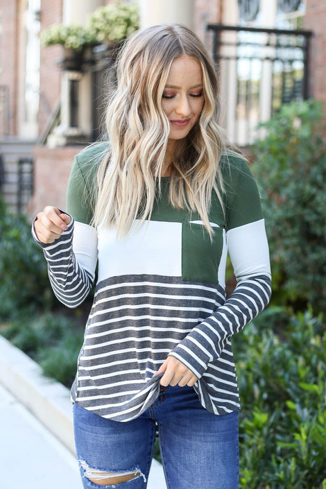 Model wearing Britt Striped Color Block Top- front detail