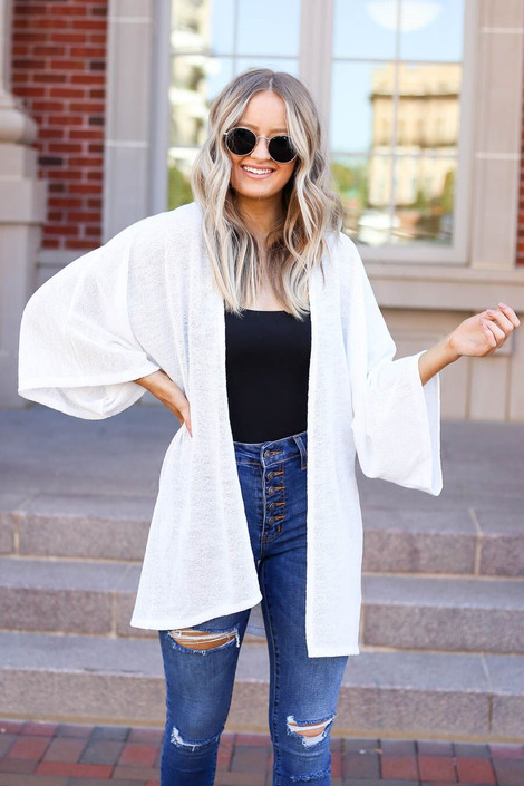 White - Model wearing the Jacie Lightweight Cardigan in white front view