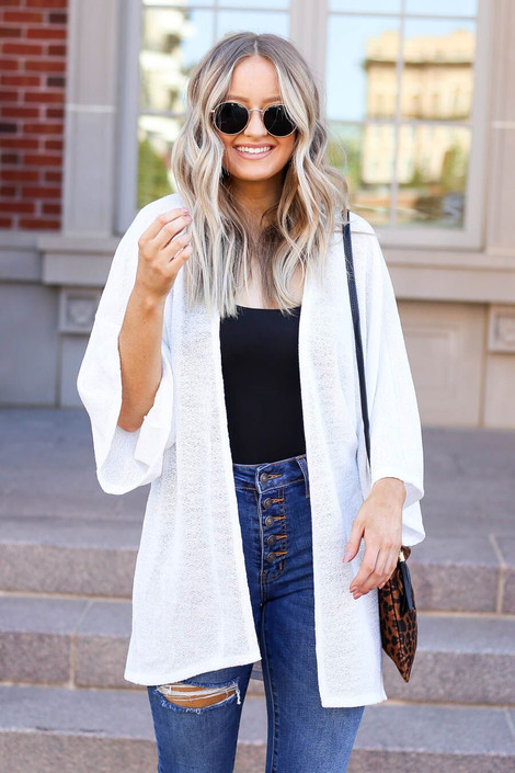 Model wearing the Jacie Lightweight Cardigan in white- front view
