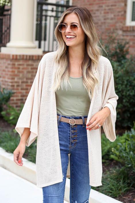 Taupe - Model wearing the Jacie Lightweight Cardigan in natural