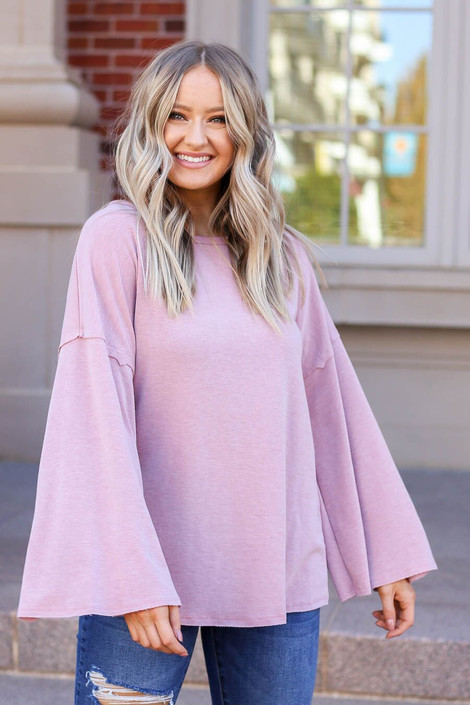 Mauve - Model wearing the Halston Oversized Knit Top Front View