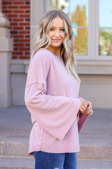 Mauve - Model wearing the Halston Oversized Knit Top Side View