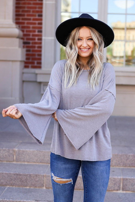 Grey - Model wearing the Halston Oversized Knit Top Front View