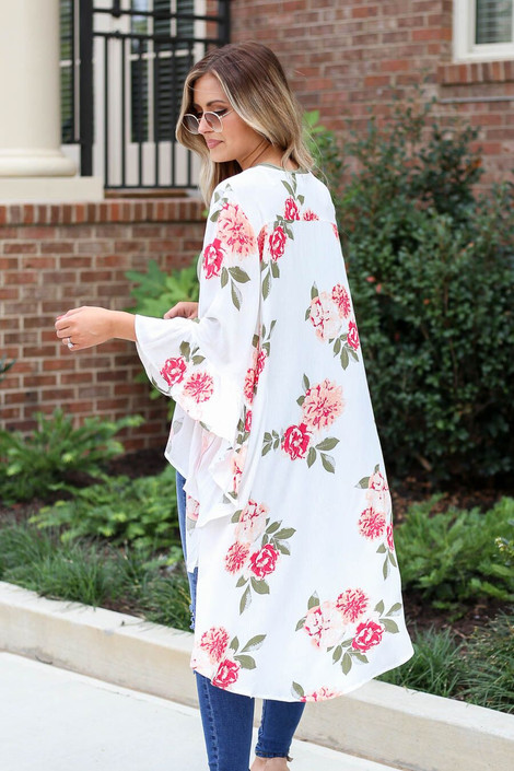 White - Model wearing the Dacey Floral Ruffle Sleeve Kimono in white back view
