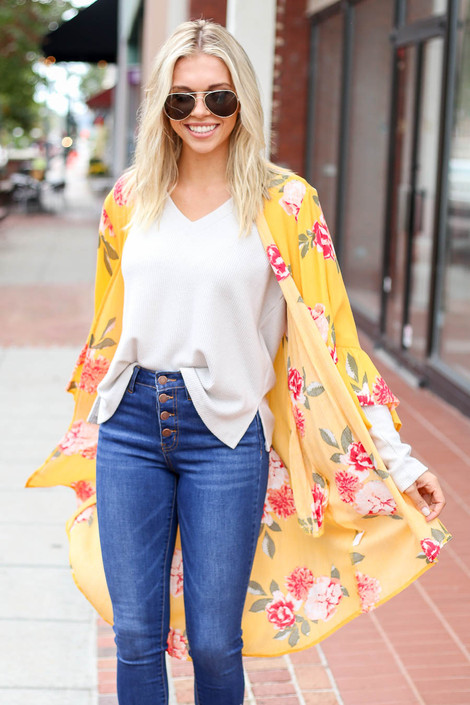 Mustard - Model wearing the Dacey Floral Ruffle Sleeve Kimono in front view