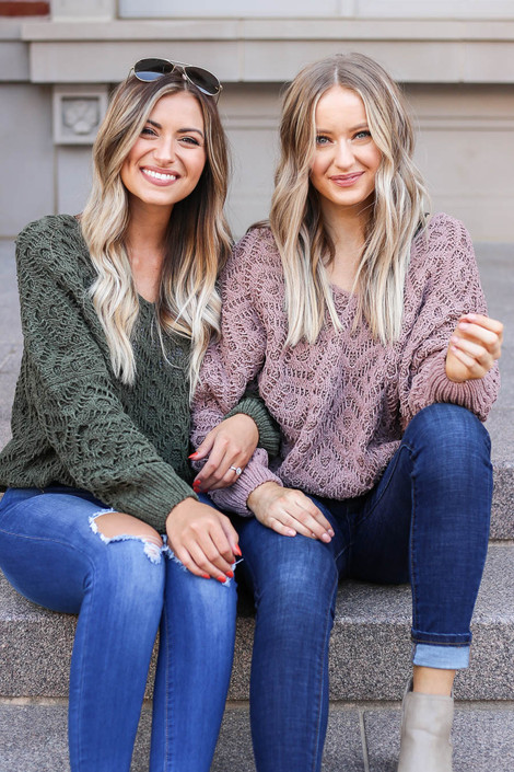 Dark Olive - and Brown Crochet Chenille Sweaters