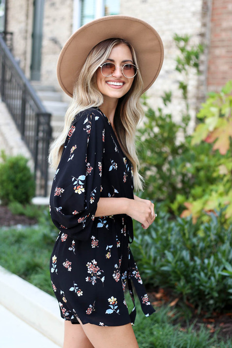 Black - Fall Floral Romper from Dress Up Side View