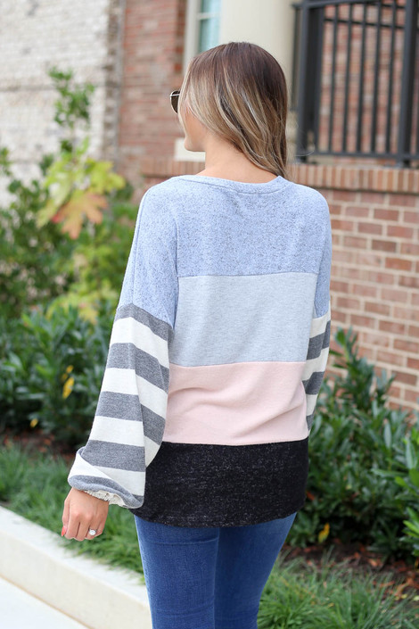 Model wearing Denim Soft Knit Balloon Sleeve Color Block Top  Back View