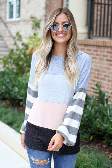 Denim - Soft Knit Balloon Sleeve Color Block Top