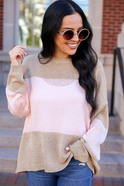 Model wearing Taupe and Blush Lightweight Color Block Sweater