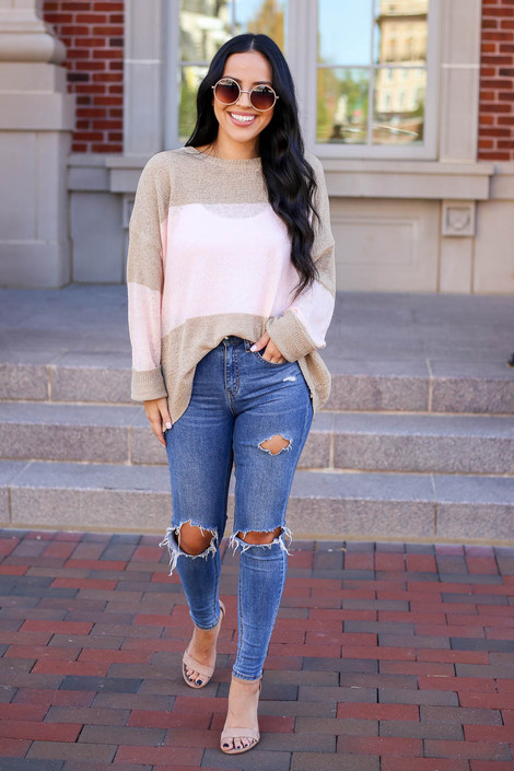 Model wearing Taupe and Blush Lightweight Color Block Sweater Full View
