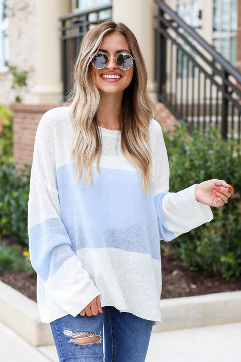White - and Blue Lightweight Color Block Sweater