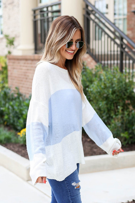 White - and Blue Lightweight Color Block Sweater Side View