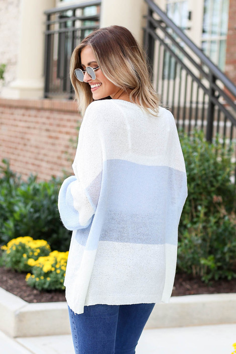 Model wearing White and Blue Lightweight Color Block Sweater Bak View