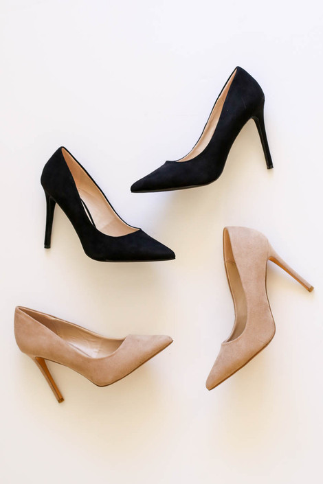 Black - and Natural Pointed Toe Pumps Flat Lay