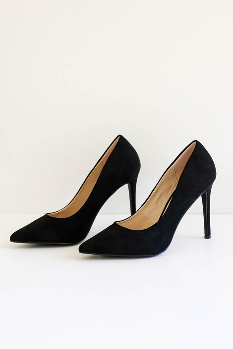 Black - Pointed Toe Pumps Side View Product Photo