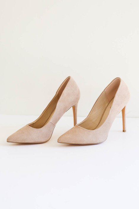 Natural - Pointed Toe Pumps Side View Product Photo