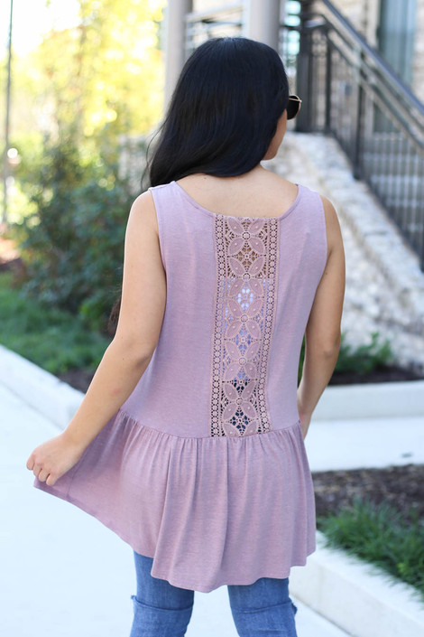 Mauve - Crochet Tank From Dress Up Back View