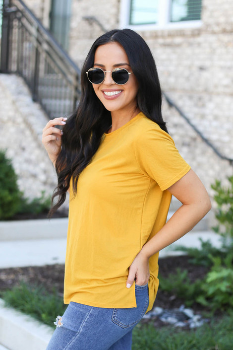 Mustard - Crew Neck Basic Tee Side View
