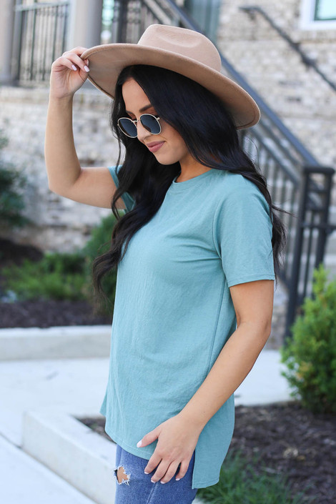 Model wearing Mint Crew Neck Basic Tee Side View