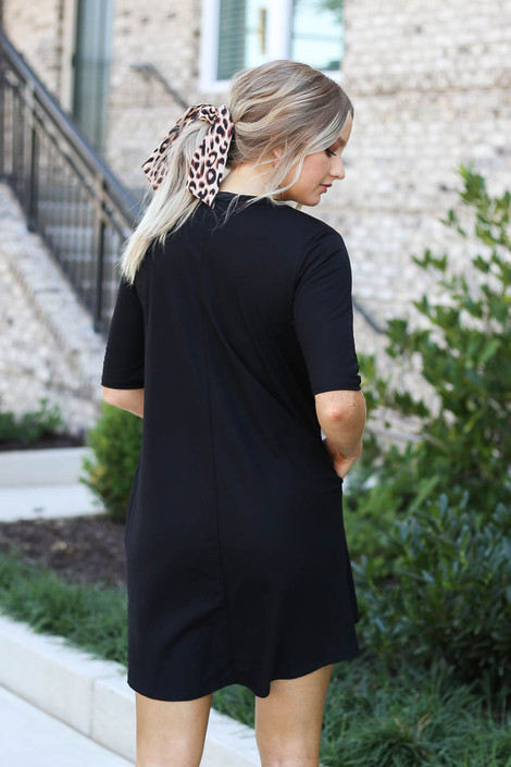 Black - V-Neck 3/4 Sleeve Pocket Dress Back View