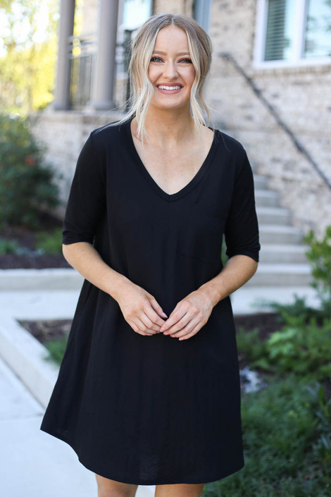 Model wearing Black V-Neck 3/4 Sleeve Pocket Dress from Dress Up