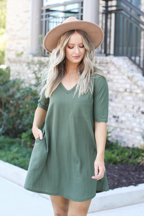 Model wearing Olive V-Neck 3/4 Sleeve Pocket Dress from Dress Up