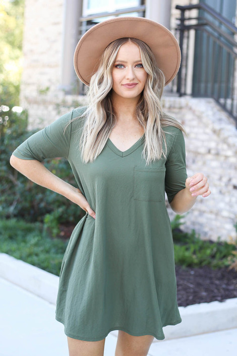 Olive - V-Neck 3/4 Sleeve Pocket Dress