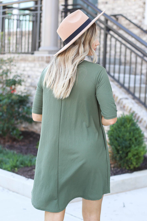 Model wearing Olive V-Neck 3/4 Sleeve Pocket Dress from Dress Up Back View