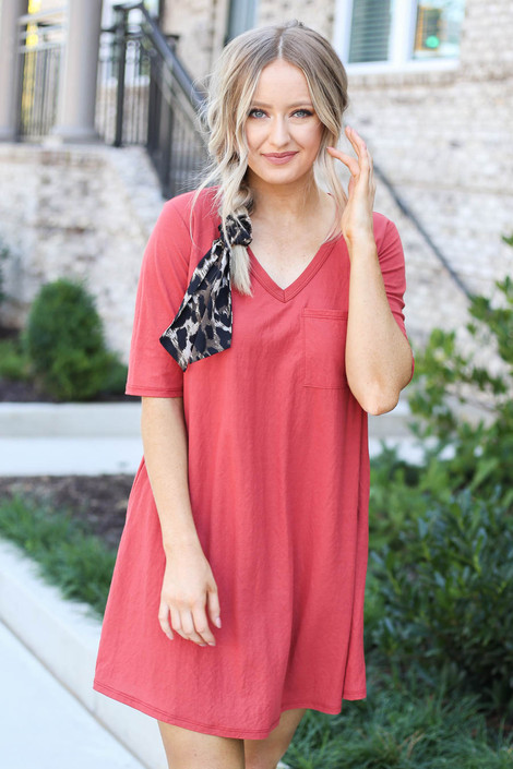 Marsala - V-Neck 3/4 Sleeve Pocket Dress