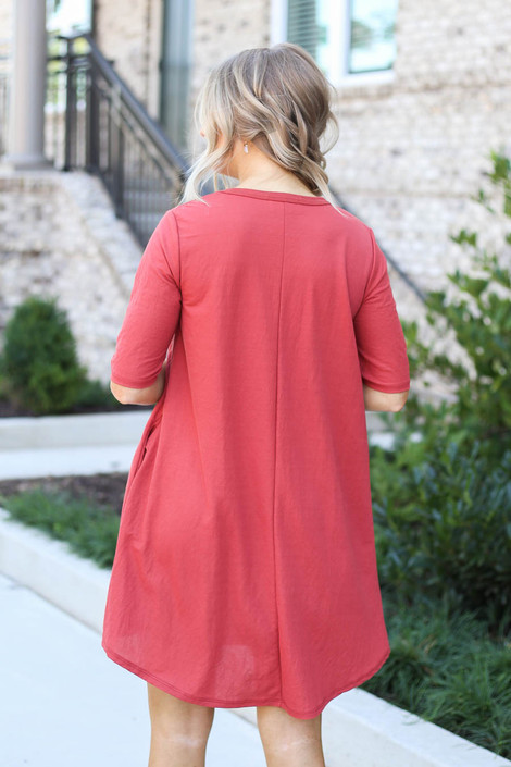 Model wearing Marsala V-Neck 3/4 Sleeve Pocket Dress from Dress Up Back View