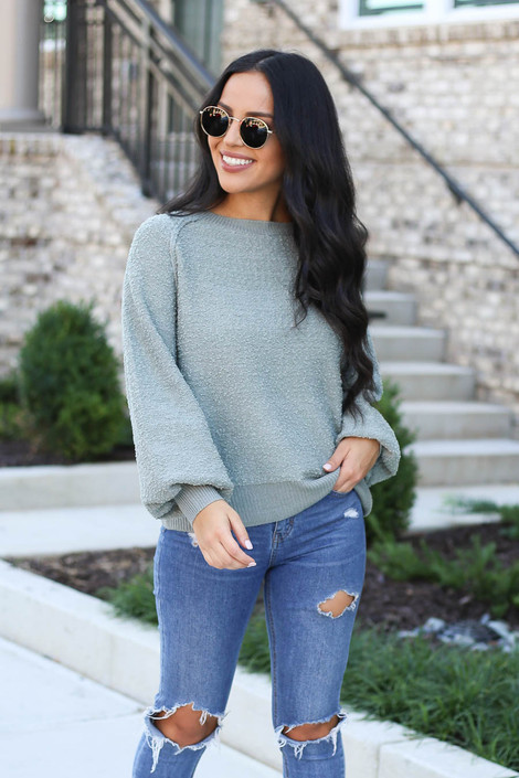 Sage - Balloon Sleeve Sweater From Dress Up