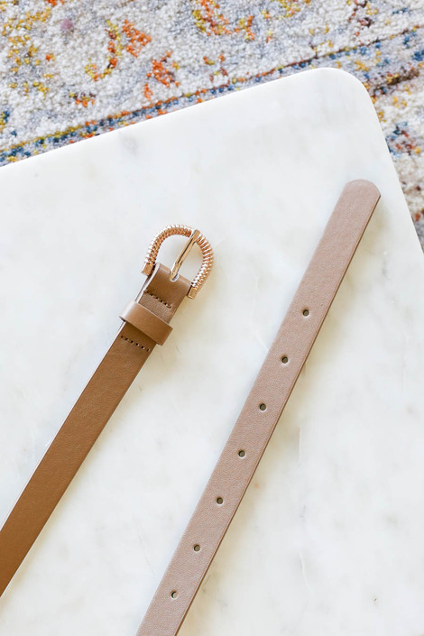 Taupe - Skinny Belt Flat Lay