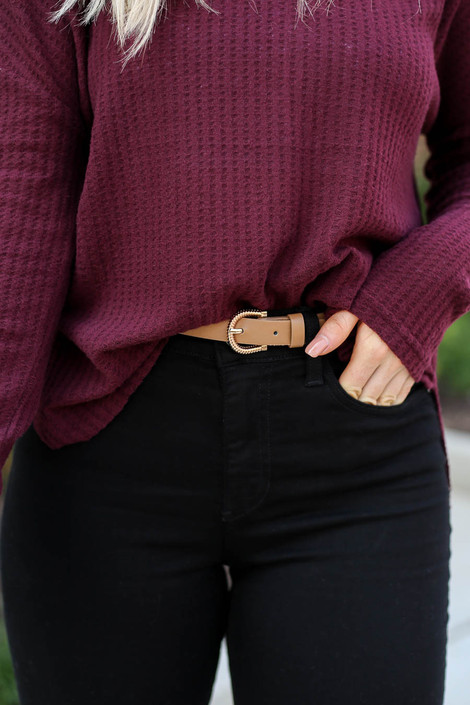 Taupe - Skinny Belt on Model