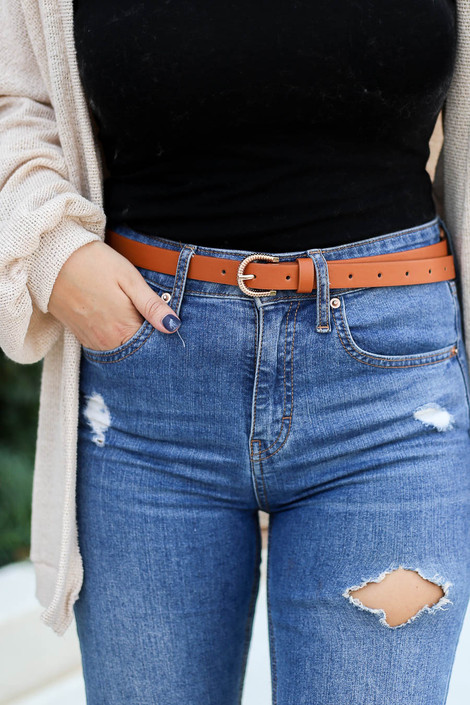 Camel - Skinny Belt on Model