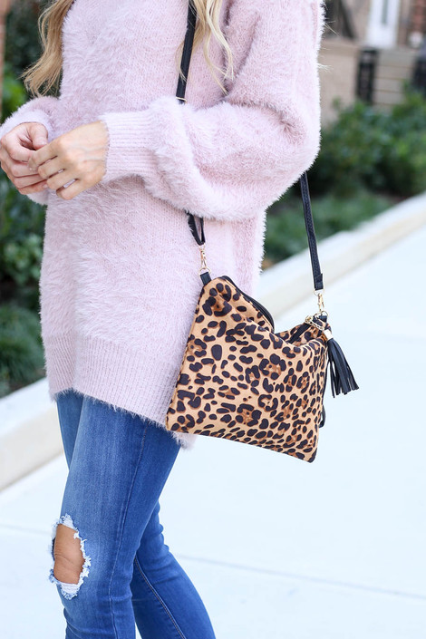 Camel - Oversized Leopard Crossbody + Clutch