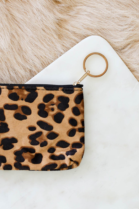 Camel - Leopard Print Keychain Wallet Detail View