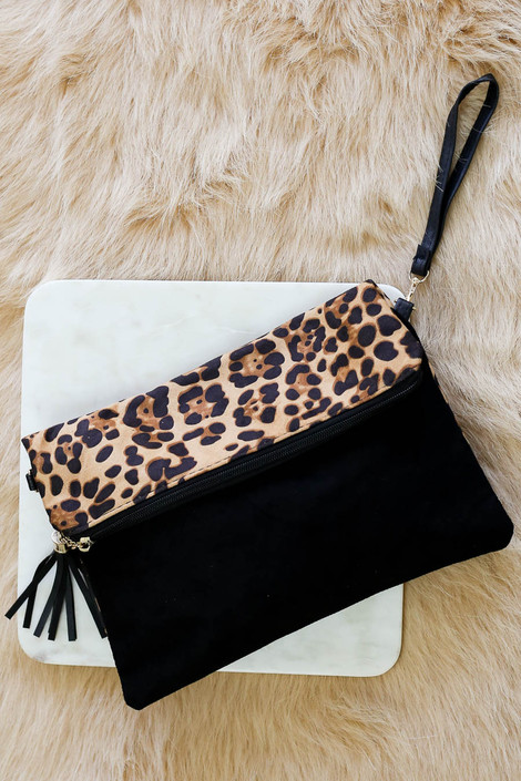 Leopard - and Black Fold Over Clutch Flat Lay